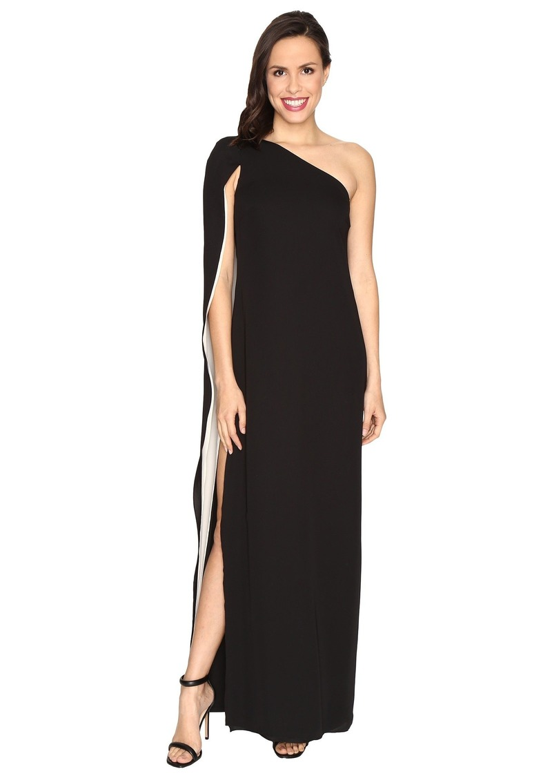 Halston Heritage One Shoulder Column Gown w/ Cape | Dresses