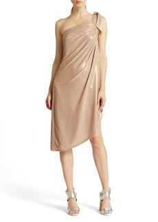 Halston Heritage One-Shoulder Draped Metallic Dress