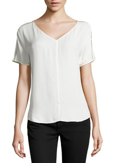 Halston Heritage Open Cross-Stitch-Trimmed Silk Top