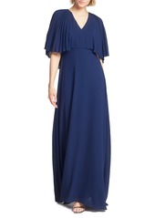 Halston Heritage Pleated Cape Sleeve Georgette Gown