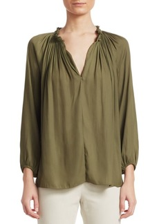 Halston Heritage Pleated Detail V-Neck Blouse