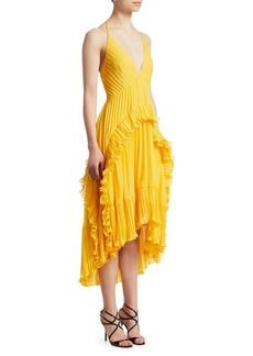 Halston Heritage Pleated Halter Dress