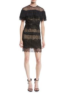 Halston Heritage Pleated Lace Mini Dress w/ Beading