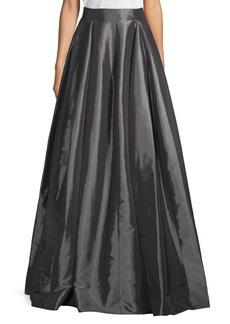 Halston Heritage Pleated Taffeta Maxi Skirt