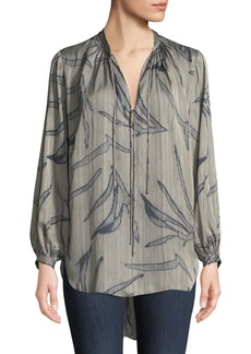 Halston Heritage Printed Flowy Long-Sleeve Blouse