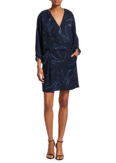 Halston Heritage Printed Kimono Sleeve Faux Wrap Dress