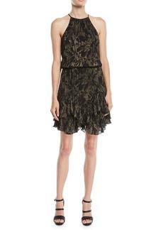 Halston Heritage Printed Metallic Dress w/ Pleating