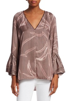Halston Heritage Printed Tiered Bell-Sleeve Top