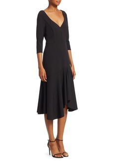Halston Heritage Quarter-Sleeve Wide V-Neck Flounce Dress