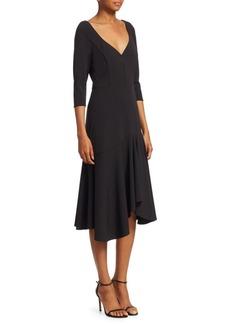 Halston Heritage Quarter-Sleeve Wide V-Neck Flounce Dress