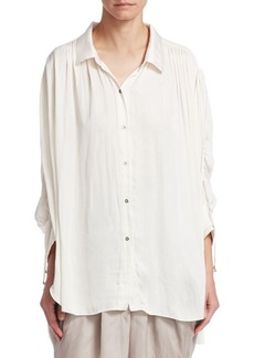 Halston Heritage Ruched Button Up Blouse