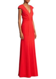 Halston Heritage Ruched Evening Gown