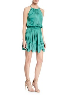 Halston Heritage Ruched Halter Mini Dress w/ Flounce Hem