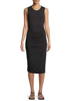 Halston Heritage Ruched-Side Sleeveless Jersey Dress