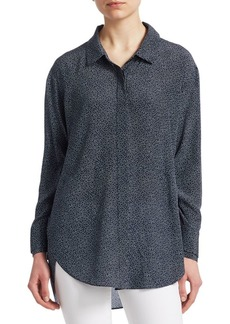 Halston Heritage Ruched Silk Button-Down Shirt