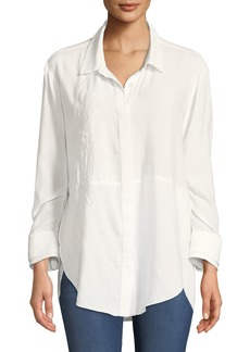 Halston Heritage Ruched-Sleeve Embroidered Shirt