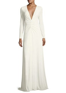 Halston Heritage Ruched V-Neck Long-Sleeve Gown