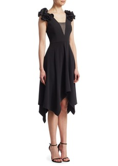 Halston Heritage Ruffle Handkerchief Dress