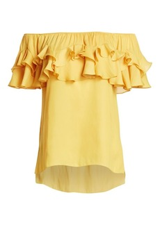 Halston Heritage Ruffled Off-The-Shoulder Top
