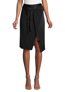 Halston Heritage Satin Panel Faux-Wrap Skirt