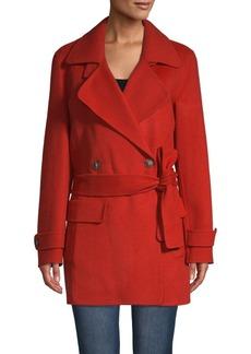 Halston Heritage Self-Tie Double-Breasted Coat