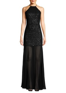 Halston Heritage Shimmering Layered Halter Gown