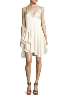 Halston Heritage Sleeveless Deep-V Satin Cami Cocktail Dress w/ Ruffled Skirt
