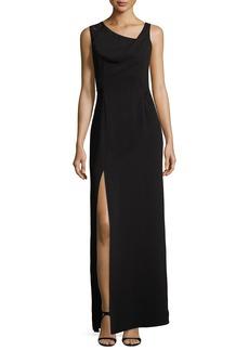Halston Heritage Sleeveless Drape-Neck Embroidered Evening Gown