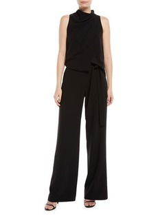Halston Heritage Sleeveless Draped Jumpsuit w/ Sash