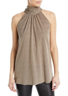 Halston Heritage Sleeveless Draped Metallic Blouse