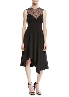 Halston Heritage Sleeveless Dress w/ Knot & Lace Details