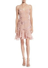 Halston Heritage Sleeveless Embroidered Soutache Dress