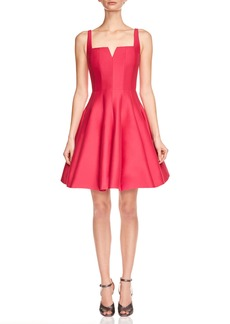 Halston Heritage Sleeveless Geo-Neck Faille Cocktail Dress