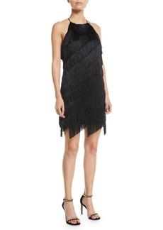 Halston Heritage Sleeveless High-Neck Fringe Slip Cocktail Dress