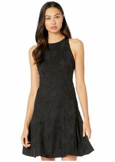 Halston Sleeveless High Neck Tulip Skirt Jacquard Dress