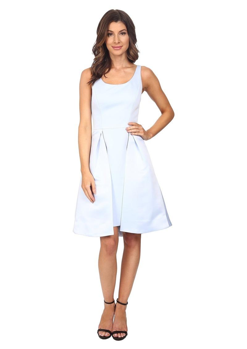 Halston Heritage Sleeveless Round Neck Satin Faille Dress with Skirt Overlay
