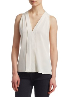 Halston Heritage Sleeveless V-Neck Drape Back Top