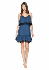 Halston Heritage Sleeveless V-Neck Pleated Dress w/ Lace