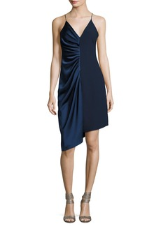 Halston Heritage Sleeveless V-Neck Satin Slip Dress