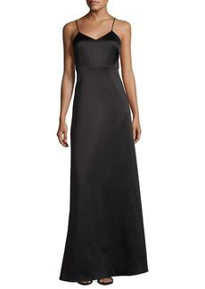 Halston Heritage Sleeveless V-Neck Structured Evening Gown