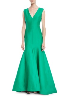 Halston Heritage Sleeveless V-Neck Trumpet Gown