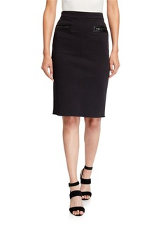 Halston Heritage Slim Pencil Skirt with Zipper Detail