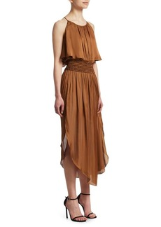 Halston Heritage Smocked Popover Dress