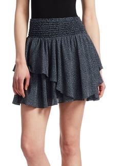 Halston Heritage Smocked Waist Ruffled Miniskirt