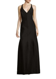 Halston Heritage Solid Cotton-Blend Sleeveless Gown