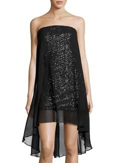 Strapless Chiffon-Overlay Cocktail Dress
