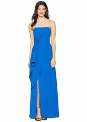 Halston Heritage Strapless Drape Front Crepe Gown