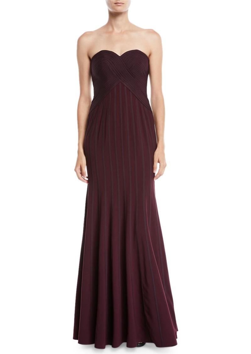 Halston Heritage Strapless Flowy Gown w/ Satin Strips