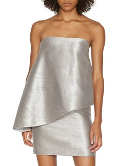 Halston Heritage Strapless Metallic Cocktail Dress