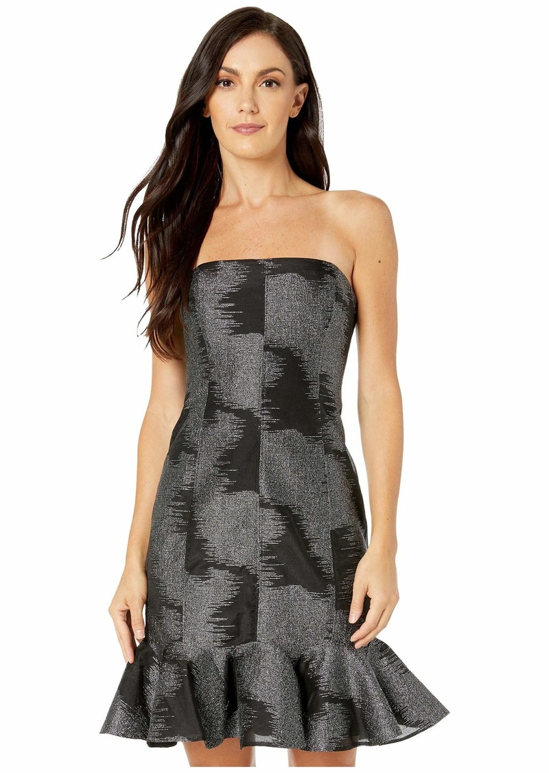 Halston Strapless Metallic Jacquard Dress